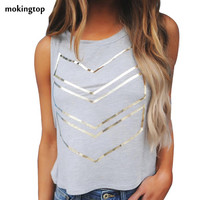 mokingtop Cropped Tshirt Sleeveless Sexy Women Summer T-Shirt Women Fashion Loose Cropped Top Haut Femme#121