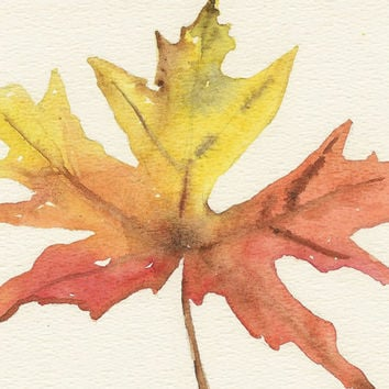 Maple leaf, Original watercolor art, still life painting, fall autumn leaves