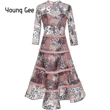 Young Gee 2018 Spring Women Elegant Floral Embroidery Lace Dress O-neck Office Casual Slim Sexy Dreamlike Runway Party Dresses