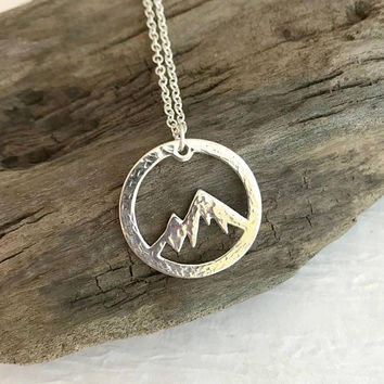 Hammered Mountain Pendant Necklace, silver mountain charm, hiking jewelry, camping gift,  gift for her, travel necklace