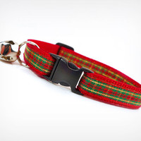 "Cat Collar - ""Jingle Bell Rock"" - Plaid (Red, Green & Gold)"