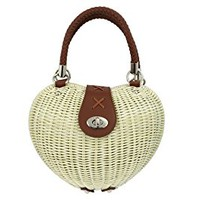 Banned Retro Pinup Lolita Ivory Heart Shaped Wicker basket Handbag