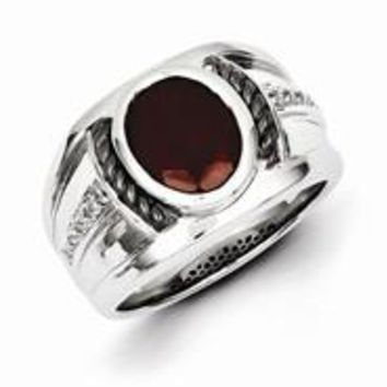 Sterling Silver Garnet & Diamond Oval Black Rhodium-plated Men's Ring