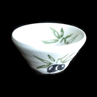 Small ceramic olive bowl-Pottery-  Decorative and useful bowl- Unique ceramic handmade white bowl with hand painted black olives.