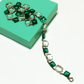 Art Deco Necklace, Clear and Emerald Glass Crystals, Silver Plated, Wedding Jewelry,  1920s, 1930s