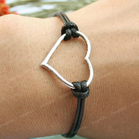 Heart bracelet-black antique silver heart bracelet, cool gift for her