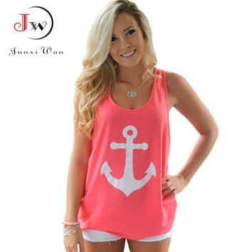 Sleeveless T Shirt Women Back Bow Anchors Print Sexy Chiffon blusas Shirts Tops Tees Plus size tshirt Cropped Camisas Femininas