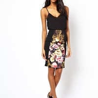 ASOS Pencil Skirt In Floral Print With Rib Inserts