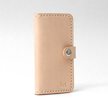 Minimal Leather Iphone 5 Wallet Iphone 5 / 5s Case, Personalized, Vegetable-tanned Leather, Handmade Hand-stitched, Natural Tan