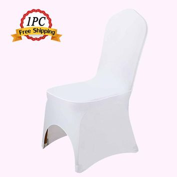 Free Shipping 1PC Universal Spandex Lycra White Chair Covers for Wedding Banquet Hotel Decoration Party Accessories Supply