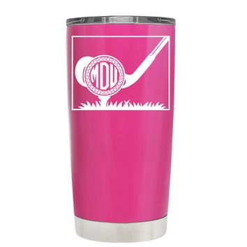 TREK Monogrammed Golf Ball on Bright Pink 20 oz Tumbler Cup