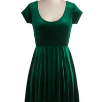 ModCloth Mid-length Short Sleeves A-line Vivacious in Velvet Dress in Emerald