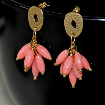 Coral Earrings, Stud Earrings, Gold Earrings, Sterling Silver, Pink Coral, Salmon Coral, Dangle Earrings,Coral Jewelry