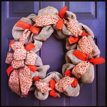 Fall Burlap Wreath for Front Door with Ribbon Deco Mesh Style