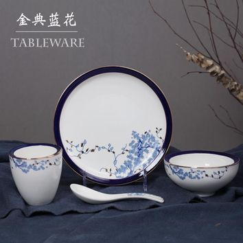 Four sets ceramic tableware thickening  dishes bowl cup set