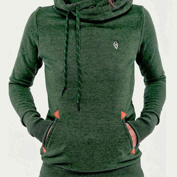 Long Sleeve Embroidered Hooded Sweatshirt