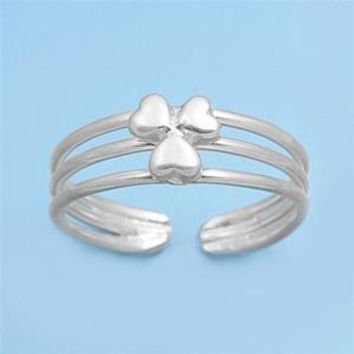 Sterling Silver Three Leaf Clover 6MM  Toe Ring/ Knuckle/ Mid-Finger