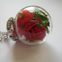 ROSE RED romantic Glass Necklace dried floral globe charm orb pendant bottle