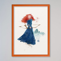 Merida Princess FRAMED Watercolor print Disney Castle Merida Watercolor Illustration poster Kids art Wall art Nursery Giclee Print Fine Art