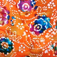 New, Cotton Quilting Fabric BY the YARD, Lovely Orange Floral BATIK from India, Caledonia Gardens