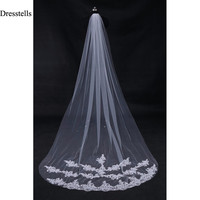 2016 Bride Veils White Applique Tulle 3 meters veu de noiva long wedding veils bridal accessories lace bridal veil