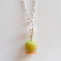 Scented or Unscented Halloween Candy Toffee Apple Miniature Food Necklace Pendant  - Miniature Food Jewelry
