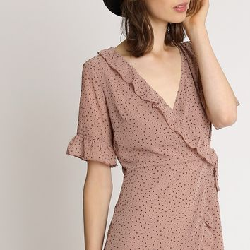 Social Hour Wrap Dress In Camel | Ruche