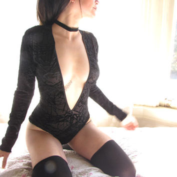 See through Lingerie Black Velvet Bodysuit - burnout velvet leotard w long sleeves - womens clothing black lingerie - sheer lingerie- Onesuit