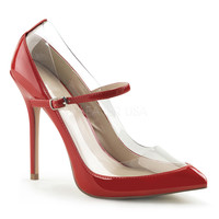 Red Patent Leather Transparent Amuse Mary Jane Heels