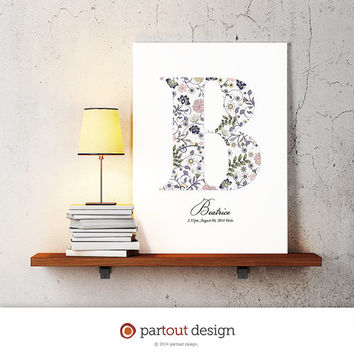 letter B baby nursery art floral monogram logo personalized gift name initial art print printable art letter nursery decor initial name art