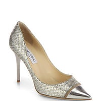 Jimmy Choo - Capri Glitter Cap-Toe Pumps