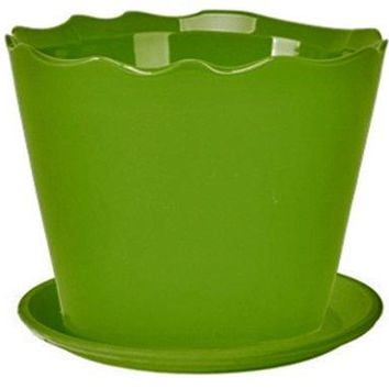 Deroma 5700370AF Wavy Cylinder Planter with Saucer, Small, Green