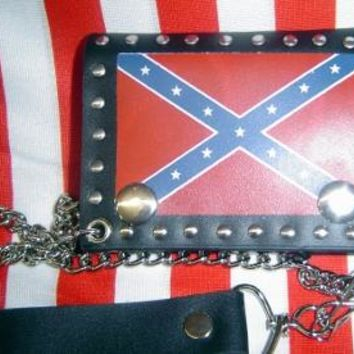 Confederate Leather Trifold Wallet w/ Chain