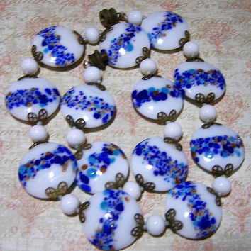 Venetian Round Disk Bead Necklace, Murano Blue White Lampwork Beads, Venetian Jewelry, Art Glass Jewelry 1017