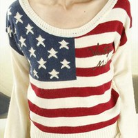 Knitted US Flag Shirt for Women TKS544 from topsales