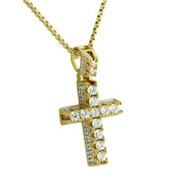 Solitaire 1 Row Cross Pendant Jesus Crucifix Lab Diamonds 14k Gold Finish Box Steel Necklace