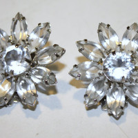 Vintage Openback Rhinestone Flower Earrings by patwatty on Etsy
