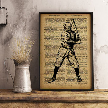 Baseball Player poster, Sports Baseball Print Vintage Baseball Player, Sports collage man cave decor, Baseball Player gift Wall ArtV15
