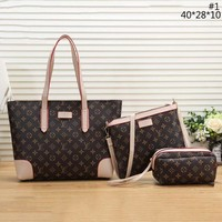 LV trend women's wild fashion shopping bag shoulder bag Messenger bag three-piece