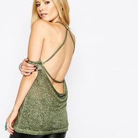 ASOS T-Shirt with Open Back In Oil Wash