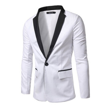 One Button Slim Fit Men's Casual Blazer – Sneak Outfitters