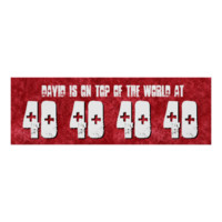 40th Birthday Banner Custom Name Red Grunge V06 Posters