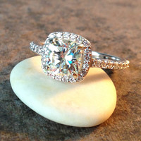 anya ring - forever one moissanite engagement ring, diamond halo ring