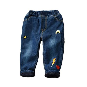 Winter Kids Jean Thick Casual New Style Boys Girls Jeans Cartoon Pattern Children Pants 2 3 4 5 6 7 Year Baby Toddlers Trousers