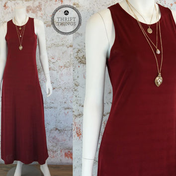 Vintage 80s Maxi Dress Grunge Hipster Boho Long Upcycled Solid Color Maroon Goth Retro Small Medium S M