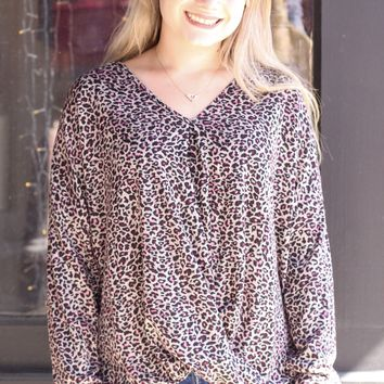 Magenta Leopard Gathered Front Knit L/S