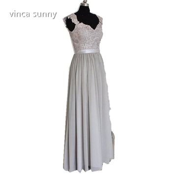 Vinca Sunny Sexy 2017 Gray Bridesmaid Dresses robe demoiselle d'honneur Scoop Lace Chiffon Long Maid of Honor Prom Dress Gowns