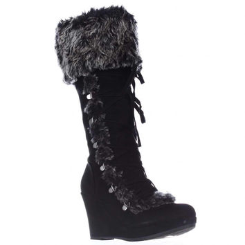 Report Pearson Wedge Lace Up Winter Boots - Black