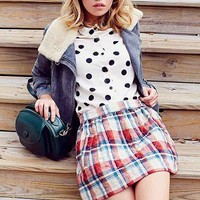 RYDER Quilted Flannel Mini Skirt- Red