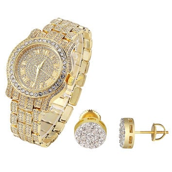 Designer Rapper Hip Hop Iced Out Gold Finish Techno Pave Watch & Earrings Combo